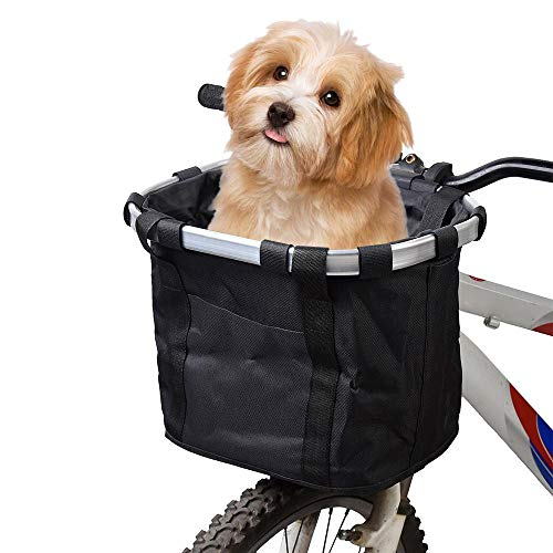 HAAMIIQII Bike Basket, Folding Small Pet Cat Dog Carrier Front Removable Bicycle Handlebar Basket Quick Release Easy Install Detachable Cycling Bag Mountain Picnic Shopping