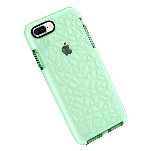 Funda iPhone 8 Plus / 7 Plus, Carcasa Silicona Transparente Protector TPU Airbag Anti-Choque Ultra-Delgado Anti-arañazos Case 3D Modelo de Diamante Funda (iPhone 7 Plus / 8 Plus, Verde)