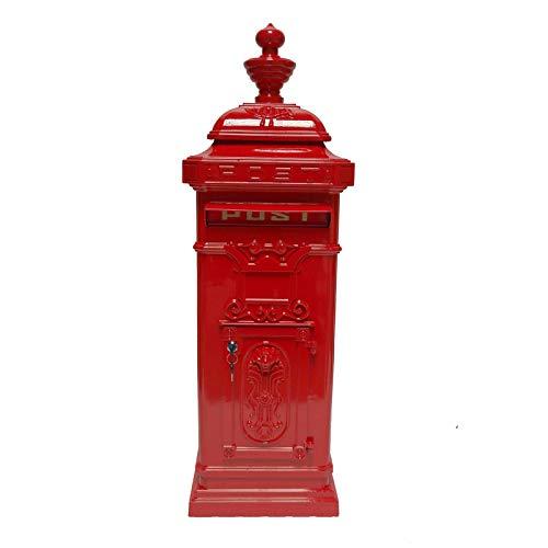 HTI-Line Standbriefkasten Siena Säulenbriefkasten Antik Standbriefkasten Standpostkasten Nostalgischer Briefkasten Letterbox Freistehend Nostalgie Rot