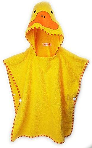 Schlupfi Badeponcho Kinder: Kinderhandtuch mit Kapuze - Handtuch Poncho mit Tiermotiv, Kapuzenhandtuch für Jungen und Mädchen, Ente in Gelb, 60x120cm
