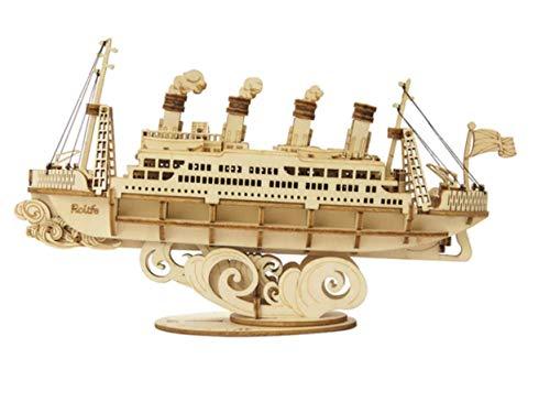 Maqueta Mecanica Barco Ferry en Madera Puzzle 3D Rompecabezas Corte Laser Modelo Ensamblar Niños Jovenes Adultos