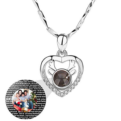 Collar Personalizado Colgante Collar De Proyección Collar De Corazón Collar De Foto De 100 Idiomas Con Diamante Collar De Plata De Ley 925 Collar De Regalo Para Madre(Plata a Todo Color 16)