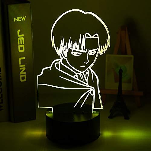 Capitán Levi Ackerman figura luz de noche LED para niños decoración de dormitorio infantil luz de noche colorida lámpara de mesa Attack on Titan regalo
