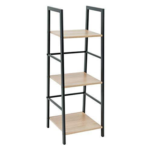 C-Hopetree Ladder Shelf Bookcase - 3 Tier Corner Display Bookshelf - Black Metal Frame