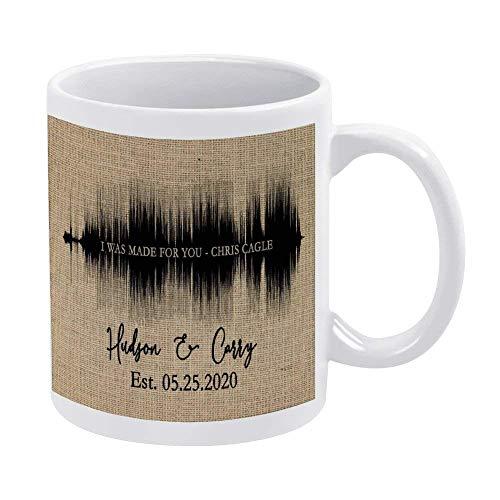 Taza de café Sonogram, taza de cerámica con fecha establecida, taza novedosa para café, té, cacao, leche, regalo de cumpleaños, regalo de inauguración de la casa, taza de oficina personalizada, idea d