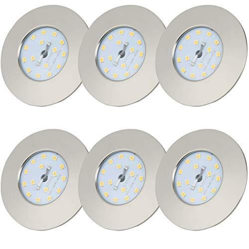 LED Einbaustrahler 230V Ultra Flach 5W 6er Set LED Spot Warmweiß Spots LED Set - Deckenspots LED - LED Einbauleuchten LED Badeinbaustrahler - IP44 400lm 3000K Matt-Nickel