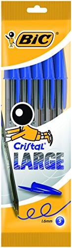 BIC Cristal - Blíster de 5 unidades, large bolígrafos punta ancha (1,6 mm), color azul