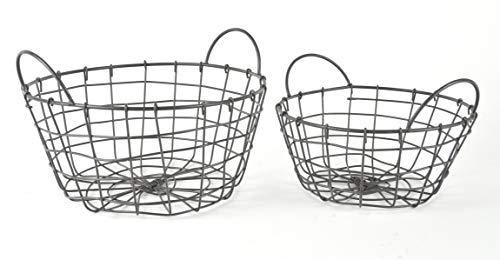 Metall Korb 2er Set rund aus Draht im Vintage Shabby Chic – vielseitig verwendbar für Küche, Garten oder als Deko-Korb