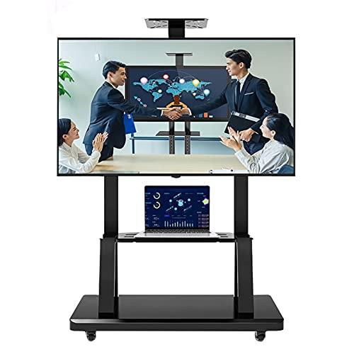 SSZY Soporte TV Trole Soporte de TV Móvil Negro con Ruedas para Dormitorio, Carro Rodante para TV con Almacenamiento para Televisores de Pantalla Plana de 50/55/65/70/75 Pulgadas, Altura Ajustable
