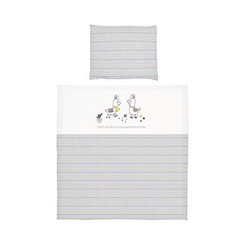 BORNINO HOME Parure de lit lama avec motif brodé 35x40 / 80x80 cm, blanc/gris