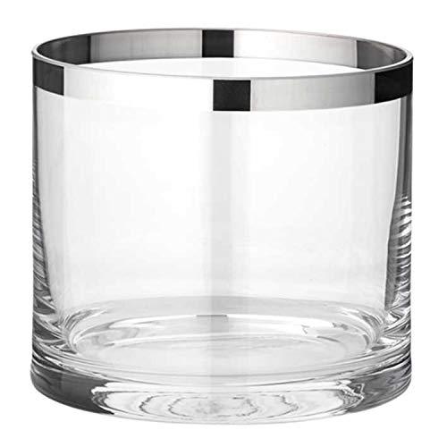 EDZARD Windlicht Molly, mundgeblasenes Kristallglas mit Platinrand, Höhe 10 cm, Durchmesser 11,5 cm, für Teelicht oder Maxi-Teelicht