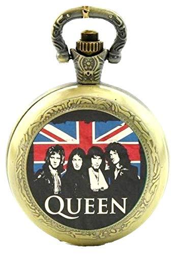 Products Just4U - Orologio da taschino/collo, a tema Queen, al quarzo, analogico, effetto bronzo, in confezione regalo, con batteria di ricambio