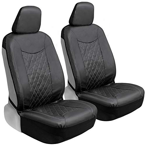 Motor Trend Black Stitched Faux Leather Car Seat Covers for Front Seats –...