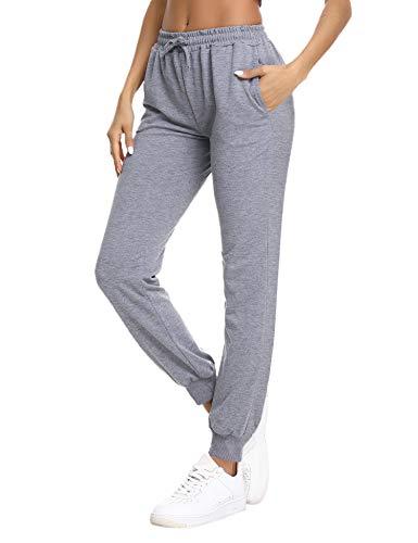 NewPI Pantalones Deportivos Mujer Pantalon Jogging Largos 100% Algodón Primavera Verano Pantalón de Chándal con Bolsilpara Running,Yoga,Fitness,Pilates,Jogger. (Gris Oscuro-2, XL)