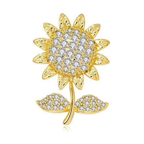 ZPEE Brosche Frauen modern Goldene Sonnenblume Brosche Buttons Revers-Stifte Strass-Blumen-Brosche Frauen Bekleidung Accessoires Broschennadeln klein