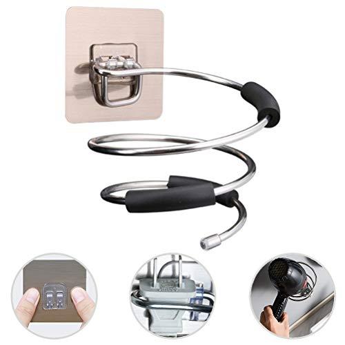 Asamio - Soporte para secador de pelo con resorte en espiral sin taladrar, de acero inoxidable montado en la pared para secador de pelo, estante organizador