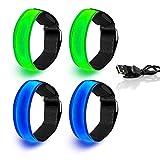 Mioke Brazaletes LED Recargable USB,4PACK Banda Reflectante Ajustable Alta Visibilidad para Correr, Bicicleta, Conciertos, Festivales o Caminar de Noche (2 Azul + 2 Verde)
