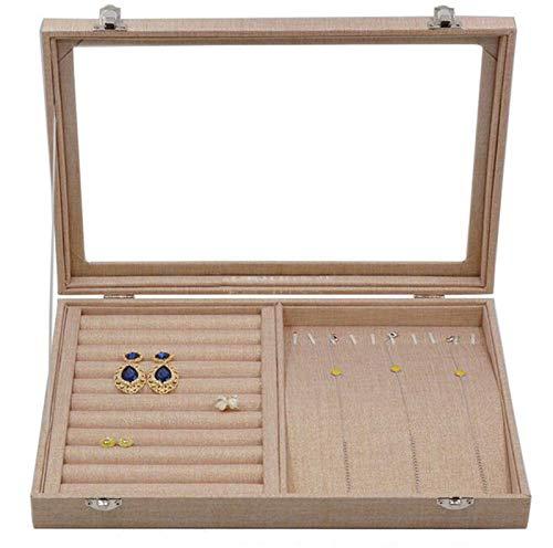 PPLAS Caja de joyería de Lino Natural Caliente para Anillos Pendientes Pulseras Collares y Otros Adornos Almacenamiento Joyería Organizador Empaquetado (Color : Rings Necklaces Box)