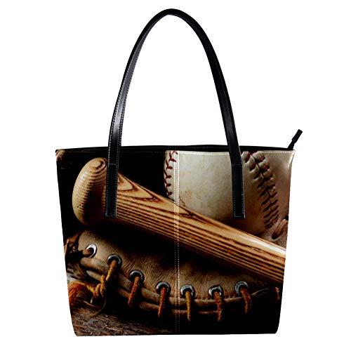 TIZORAX - Bate de béisbol y guante de madera antigua para m
