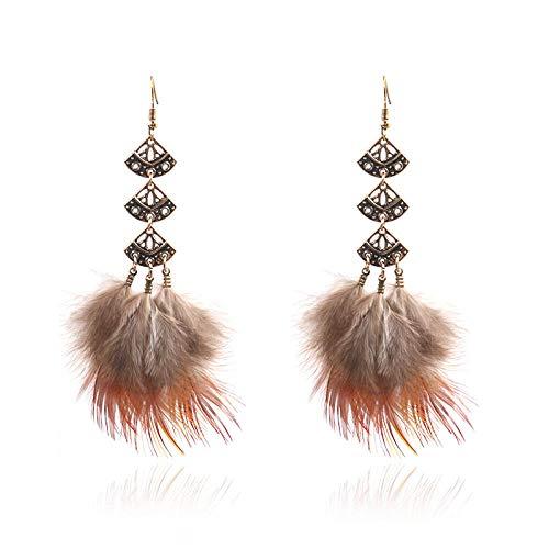 Pendientes con forma de fan de la vendimia Pendientes de borla de la pluma de la personalidad para las mujeres populares