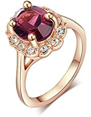 Fashion Rings women 18k gold-plated with Crystals, Size 16, Red