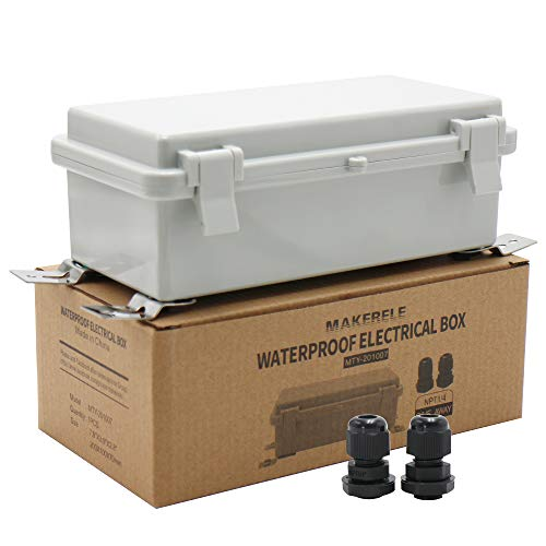 """MAKERELE Waterproof Electrical Box Outdoor Junction Hinged Cover Plastic Clip 7.9'3.9'2.8' (20010070mm) Outdoor Watertight DIY Electronics Enclosure with Wall Bracket and 2 NPT 1/4"""" Glands"""