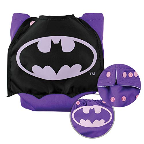 Bumkins Cloth Diaper Snap All-In-One (AIO) or Pocket with Cape, 7-28lbs, DC Comics Batman Pink