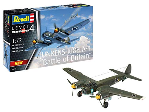 Revell- Junkers Ju88 A-1 Battle of Brita Kit Modello, Color Plateado (04972)