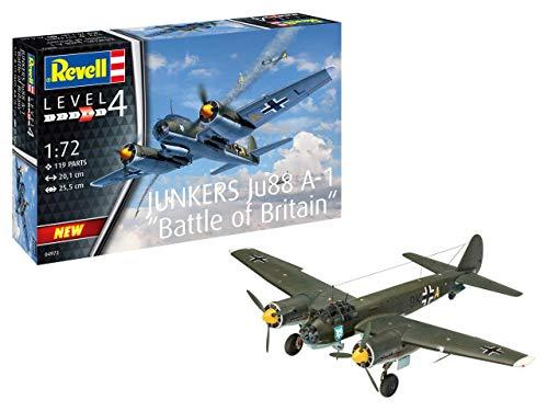 Revell RV04972 04972 Junkers Ju88 A-1 Battle of Britain, Flugzeugmodellbausatz 1:72, 20,1 cm originalgetreuer Modellbausatz für Fortgeschrittene, unlackiert