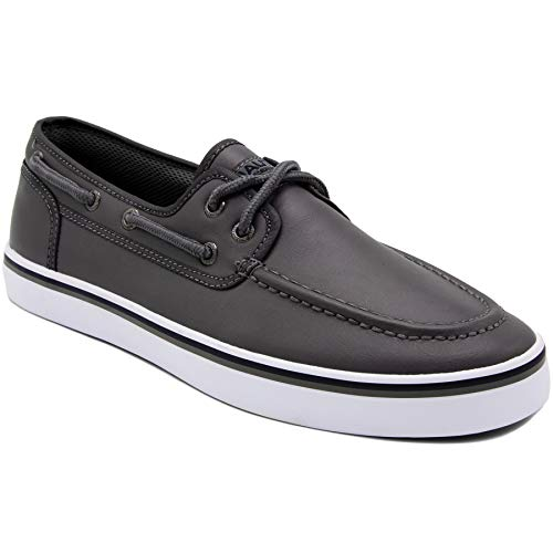 Nautica Men's Spinnaker Lace-Up Boat Shoe, Casual Loafer, Fashion Sneaker-Grey Smooth 1-9