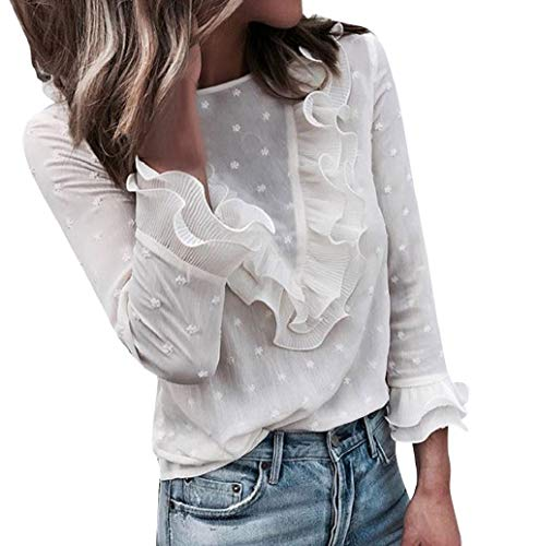 Chemise Femme Casual T-Shirt à Manches Longues Dentelle Florale à Pois Col à Volants Blouse Tops LONUPAZZ
