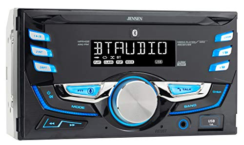 Jensen MPR420 7 Character LCD Double DIN Car Stereo Receiver | Push to Talk Assistant | Bluetooth | USB Fast Charging