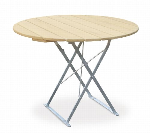 Table de terrasse ronde ø100 cm-edition euroLiving naturel en acier galvanisé
