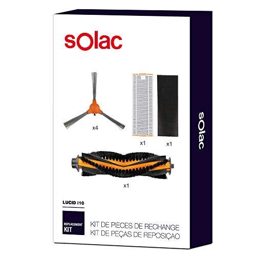 Solac AA3402 - Set de repuestos para Robot Aspirador Lucid i10 con 4 cepillos Laterales, 1 Cepillo Central motorizado, 1 Filtro HEPA y 1 Filtro de Esponja