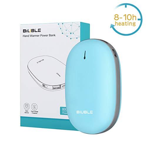 BIUBLE Handwärmer Powerbank 8000mAh, wiederaufladbare Handwärmer tragbare Taschenwärmer elektrische Handwärmer USB Ladegerät Geschenk für Frauen Kinder Mann Blau