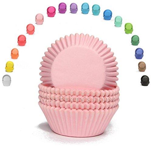 Miss Bakery's House® Mini-Muffinförmchen Standard - Ø 32 mm x 20 mm - Rosa - 200 Stück - Papier-Backförmchen - Cupcakes, Muffins und Pralinen
