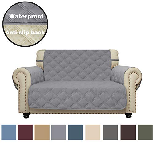 CHHKON Sofa Cover Waterproof with Anti-Skip Dog Paw Print 100% Quilted Furniture Protector Sofa Slipcover for Children, Pets for Leather Couch (Light Gray, Loveseat(Oversized))