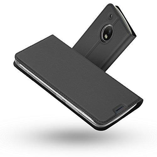 RADOO Moto G5 Lederhülle, Premium PU Leder Handyhülle Brieftasche-Stil Magnetisch Folio Flip Klapphülle Etui Brieftasche Hülle Schutzhülle Tasche Hülle Cover für Motorola Lenovo Moto G5 (Schwarz grau)