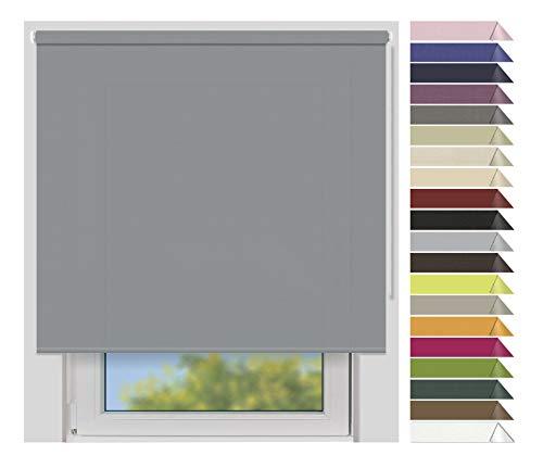 EFIXS Sichtschutzrollo Medium - 25 mm Welle - Farbe: grau (10686) - Breiten: 40-240 cm - Hier: 220 x 190 cm (Stoffbreite x Höhe) - lichtdurchlässig - Blickdicht