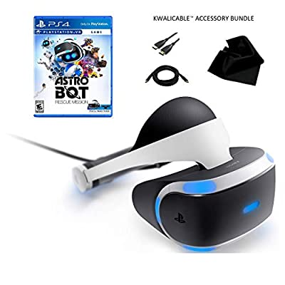 PlayStation VR Astro Bot Rescue Mission Bundle (Renewed) / Includes PSVR Headset and Processor Unit, AstroBot Rescue Mission, KWALICABLE™ Accessory Pack from Sony