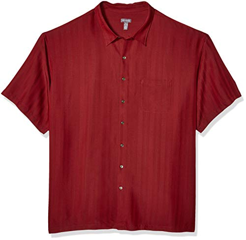Van Heusen Men's Size Big and Tall Air Short Sleeve Button Down Poly Rayon Stripe Shirt, Legacy Red Syrah, 5X-Large