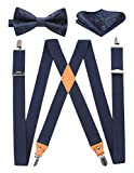 Mens Navy Blue Suspenders Strong Clips Heavy Duty X- Back Adjustable Suspenders Elastic Braces Pre-BowTie Set for Work Party