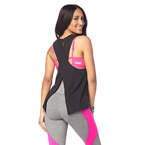 Zumba Camiseta de Entrenamiento Transpirable con Sexy Espalda Abierta para Mujer X-Pequeña Negro Negrita Poder
