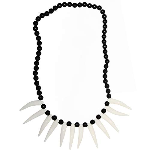 Skeleteen Caveman Bone Costume Necklace - African Jungle Tribal Necklace with Fake Teeth and Bones Accessories for Costumes for Adults and Kids