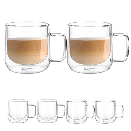 [6-Pack,250ml/8.5oz] Design•Master Hochwertiges doppelwandiges Isolierglas mit Henkel, Kaffee- oder Teeglasbecher, thermoisoliertes Glas, perfekt für Latte, Cappuccino, Americano, Tee und Getränke.
