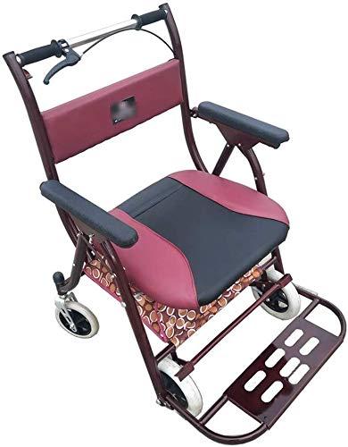 Tragbarer Transit-Reisestuhl, zusammenklappbarer Rollstuhl Old Man Crutches Home Shopping Cart Leichter und zusammenklappbarer Rahmen mit Sitzverbreiterung Plus Weight Seat Gift kann 150 kg tragen