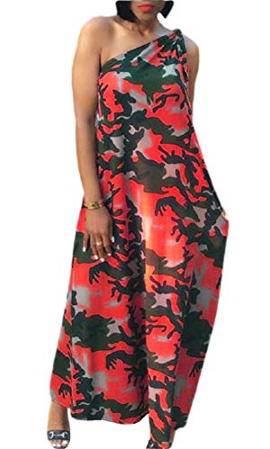 GenericC Womens One Shoulder Sleeveless Maxi Dress Camo Long Dresses Casual Loose Sundress Red M