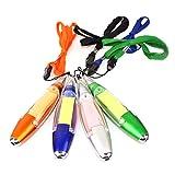 NUOBESTY - Set di 4 penne a sfera con luce e cordino in plastica, per uso esterno, casa e ufficio