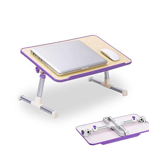 Pkfinrd Laptop/bureau/klein draagbaar voor bed, permanent WorkBenz, slaapbank, ontbijtdienblad, in hoogte verstelbaar, hoek verstelbaar, opvouwbaar, USB-koelsysteem Purplea8 Plus Without Fan