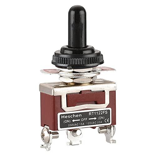 Heschen Interrupteur à bascule métallique SPDT momentané (ON)/OFF/(ON) 3 positions 15 A 250 VAC avec capuchon étanche CE
